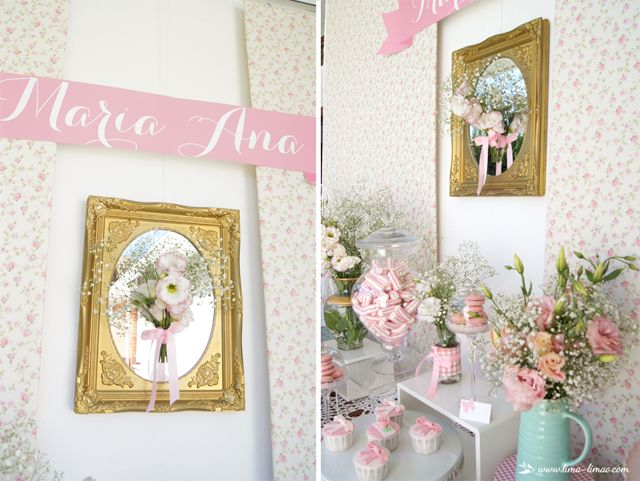 mirror detail for this little flowers themed party