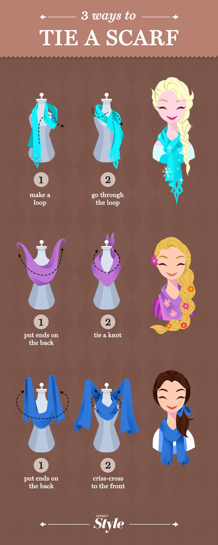 3 Enchanting Ways To Tie a Scarf- We created a scarf tying tutorial with the help of some of our favorite Disney ladies. Scarves are definitely one of our top winter weather accessories, because they give any outfit a cozy sophistication. As much as we love them though, sometimes we get into a rut about how style them. So, instead of just tossing your scarf over your shoulder again, we put together this fun tutorial of a few extra magical ways to style your scarf.