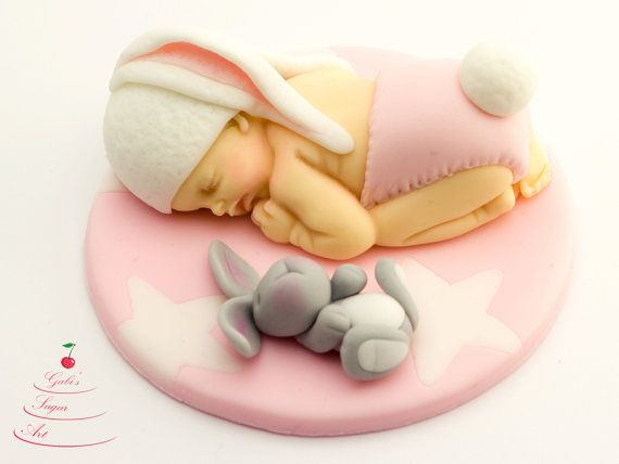 Fondant baby bunny cake topper baby shower by GabisSugarArt