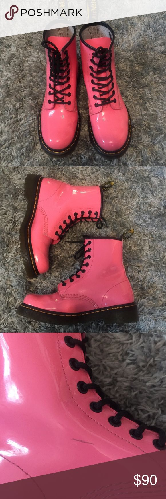 Saturday Sale! Dr. Martens Boots In Acid Pink These 1460 Patent Leather 8 Eye Lamper In Acid Pink Boots Dr. Martens are perfect for every girl that loves a pop of color. They do have one scuff on the inner left boot but otherwise they're in great condition! Will consider all offers!                                                                                  <Reduced price until end of day 2.18.17> Dr. Martens Shoes Lace Up Boots