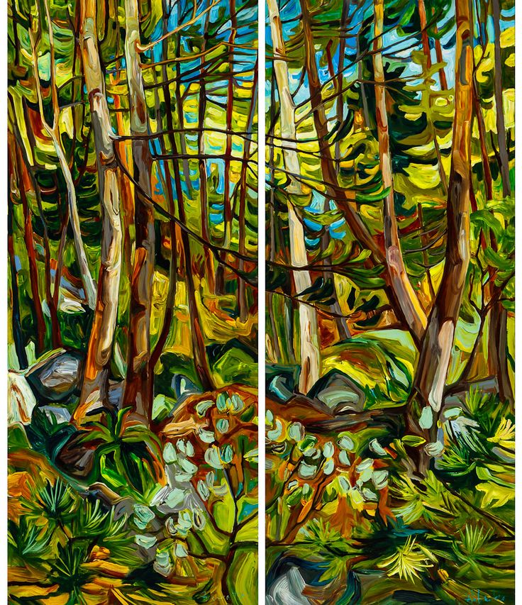This is a dyptic that I painted for clients in Collingwood Ontario. It is 5 by 6 feet combined.