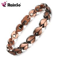 RainSo Red Copper Healing Magnetic Bracelets for women Bio Energy Bracelets & Bangles Health Female Jewelry Relieve arthritis