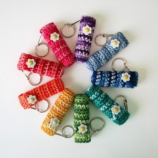 Free Crochet Keychain/Chapstick holder Great idea for long winter months. Great gift idea for christmas too!