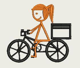 Girl Riding Bike (140mm x 140mm Hoop) by Judean888 on Etsy