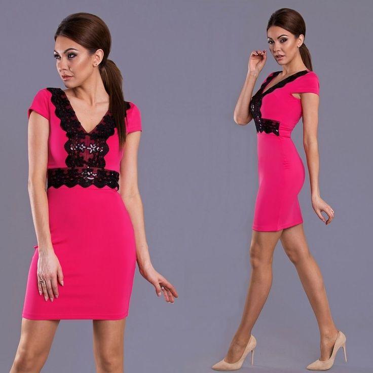 Pink/fekete csipkés ruha