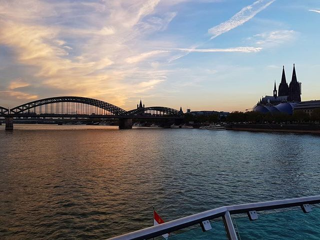 Sundown In Kollefornia Cologne Hohenzollernbridge Colognecathedral Rhine River Riverbank Sundown Musicaldome Sky Clouds Musical Dome Rheinufer Wolken