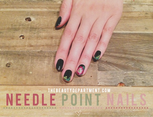Needlepoint/Cross stitch nail art.
