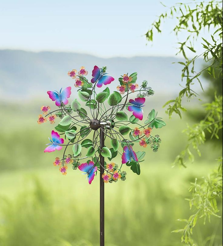 Butterfly Garden Wind Spinner | Bring the beauty of butterflies to your garden in any season.