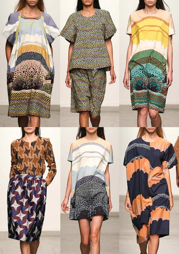 Bold African Style Geometrics – Ethnic Spot Prints – African Inspired Placements – Fluffy Cloud Patterns – Playful Landscapes – Star Prints New York Womenswear Print Highlights Part 1 – Spring/Summer 2015 catwalks