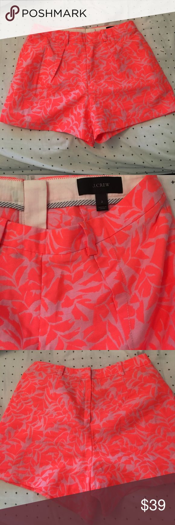 Jcrew High waisted Neon Shorts Worn once J. crew high waisted neon pink shorts with palm leaf pattern. Size 2. Perfect condition J. Crew Shorts