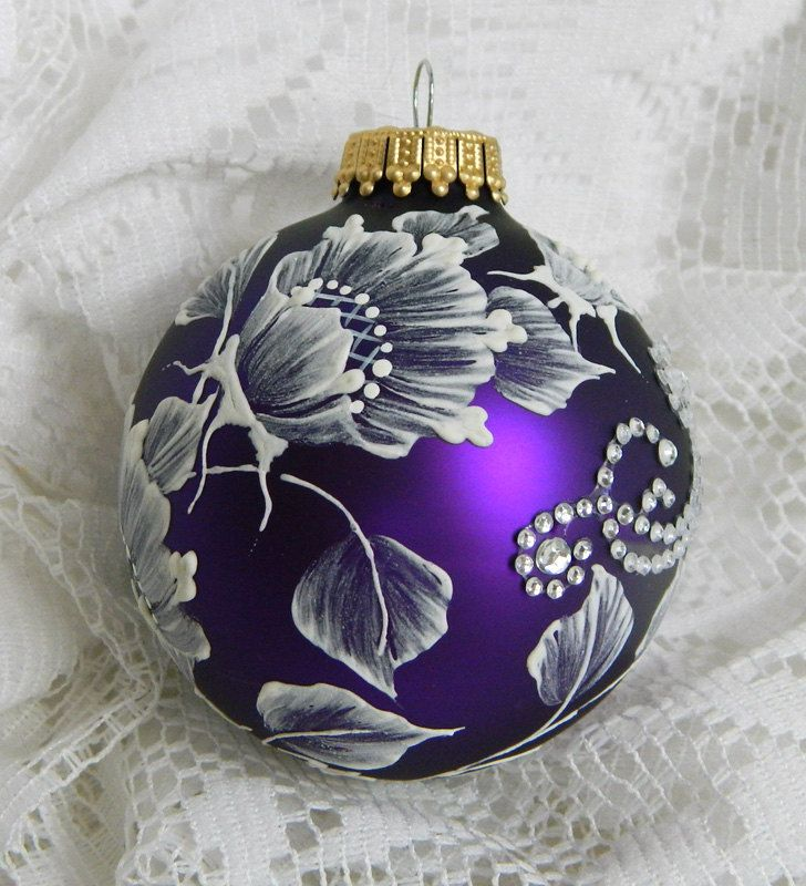 Purple Hand Painted 3D Floral Design MUD Ornament with Rhinestone Bling. 25.50, via Etsy.