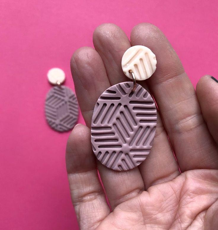 Dusky pink geometric drop earrings polymer clay jewelry