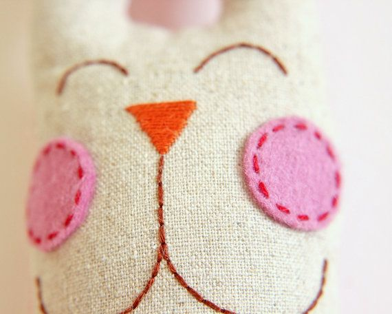 Bunny Plush Soft Toy with Red Bow and Pink by TheFoxintheAttic