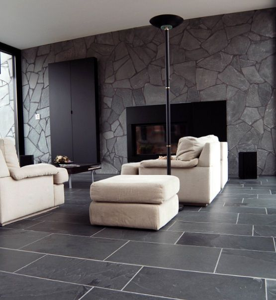 Black limestone floor tiles ideas for contemporary living room