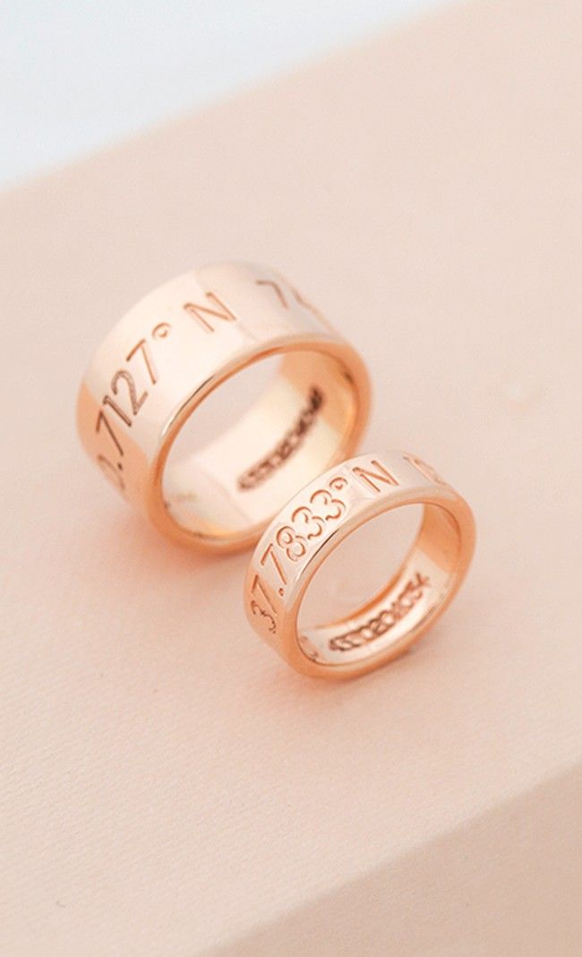 Rose gold wedding bands - coordinates of where you got married
