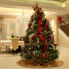 modern Christmas living room with Christmas decor on the stairway