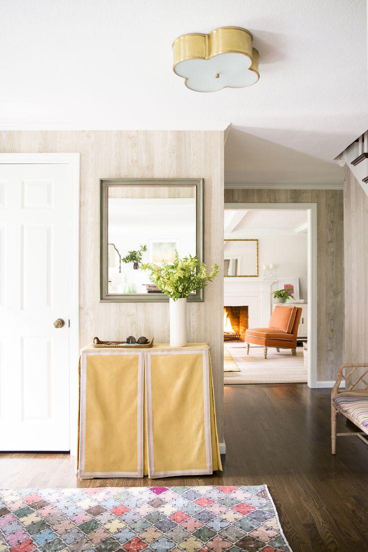 faux bois wallpaper, soft color, slipcovered console, flush ceiling fixture