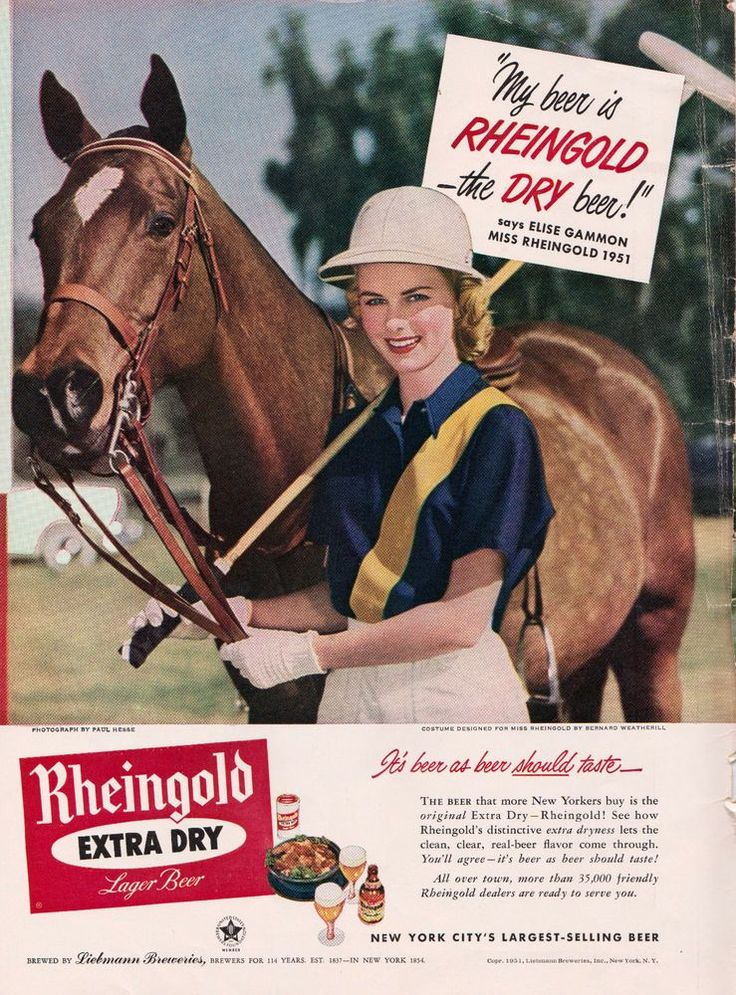1955 Miss Rheingold Beer magazine photo ad polo scene with pony & mallet