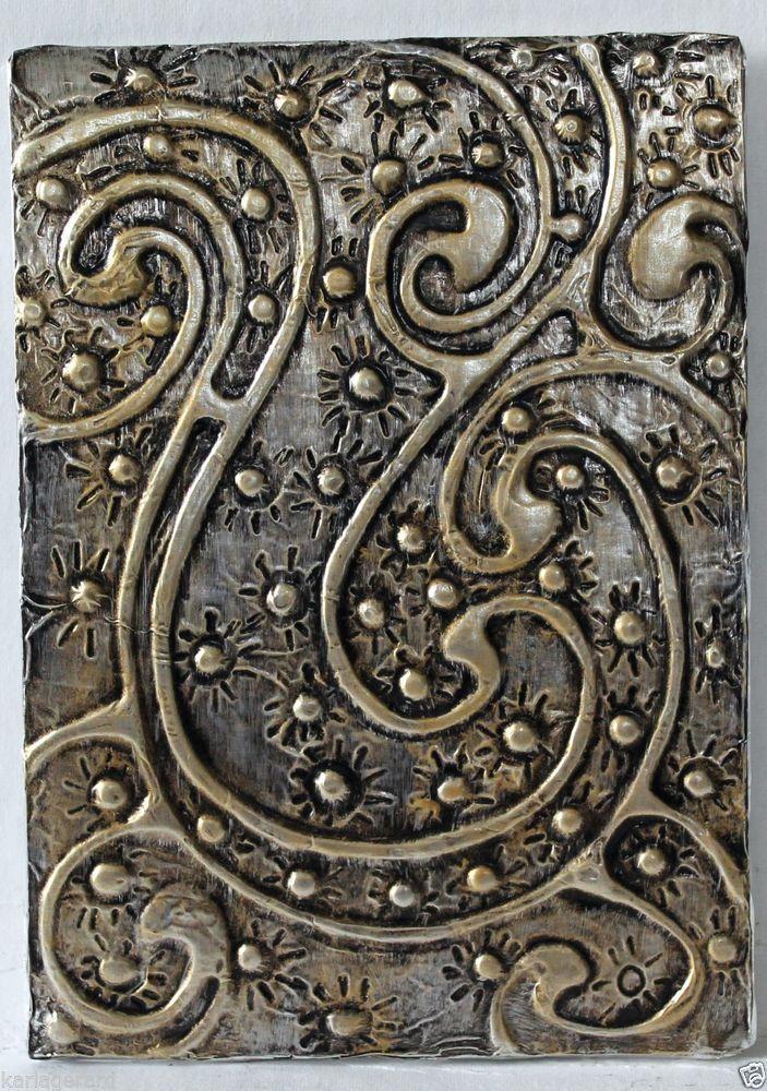 Swirls quot folk art abstract primitive foil relief