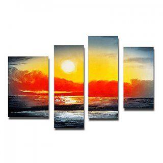Enjoy Sunrise Landscape Oil Painting - Set of 4