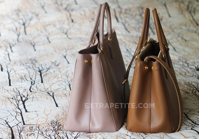 prada tessuto & saffiano messenger bag - ExtraPetite.com - Review: Prada Saffiano Lux Double Zip Tote Bag ...