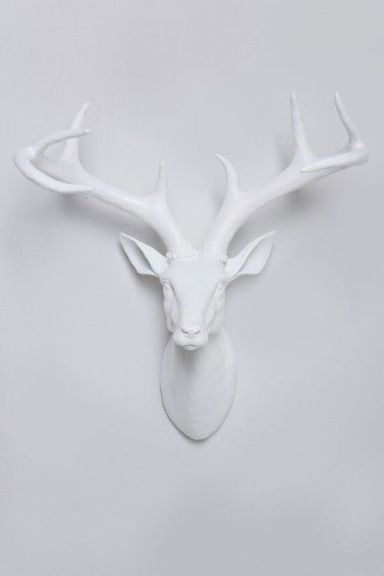 Deer head wall mount: Deer Horns, Faux Taxidermy, Wall Decor, Animal Head, White Decor, Animal Sculpture, White Wall, White Deer Head, Snow White