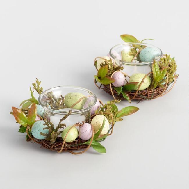 World Market Egg Nest Tealight Candle Rings Set of 2