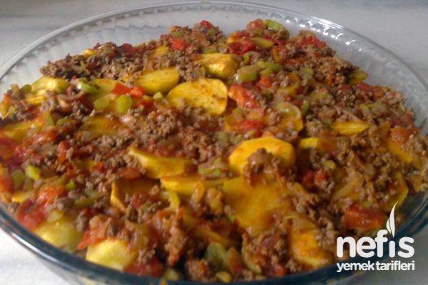 Fırında Patlıcanlı Patates