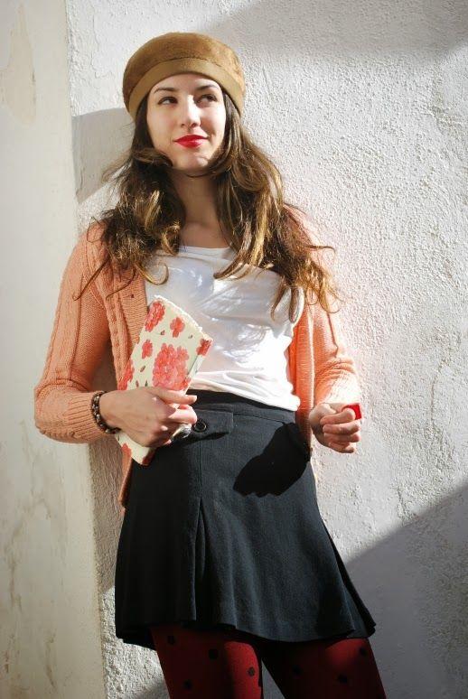 polka dots, panettone, pink handmade sweather, paco rabanne skirt, red lips, book