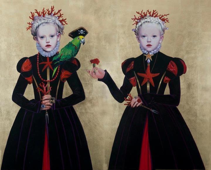 """Titti Garelli, Regine Gotiche painting series: """"Pink Pearl, CoralRose e il Pappagallo Pirata"""" work for Costa Fascinosa acrilico su tavola e foglia d'oro 178 h x210 l."""