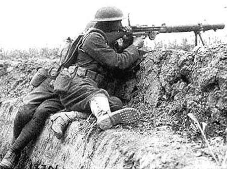 Soldier firing Lewis Gun