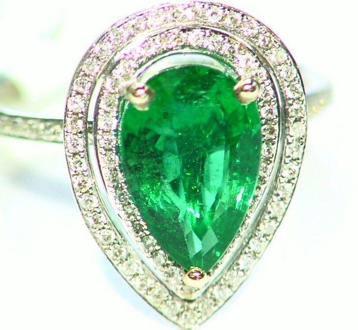 2.53CT 14K GOLD NATURAL EMERALD ROUND CUT WHITE DIAMOND VINTAGE ENGAGEMENT RING  #saltydogwalter #Cocktail #Birthday