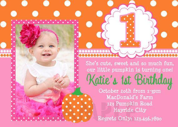 Pumpkin Birthday Invitation Fall Pumpkin 1st by TheTrendyButterfly, $15.00