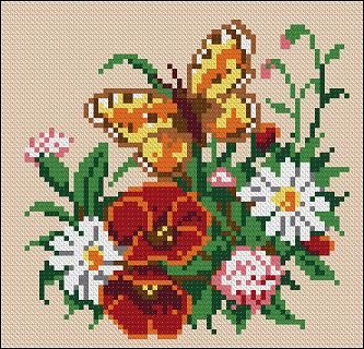 """Free cross-stitch pattern for pillow """"Flowers with butterfly"""" I think that this design is well suited for the cushions in a lush garden. Although this designmade for Aida 10 with 2 threads, you can take 3 or 4 threads for your cross-stitch had a volume  Company: Cross-Stitch Club Used colors: 12 Fabric: Aida 10, …"""