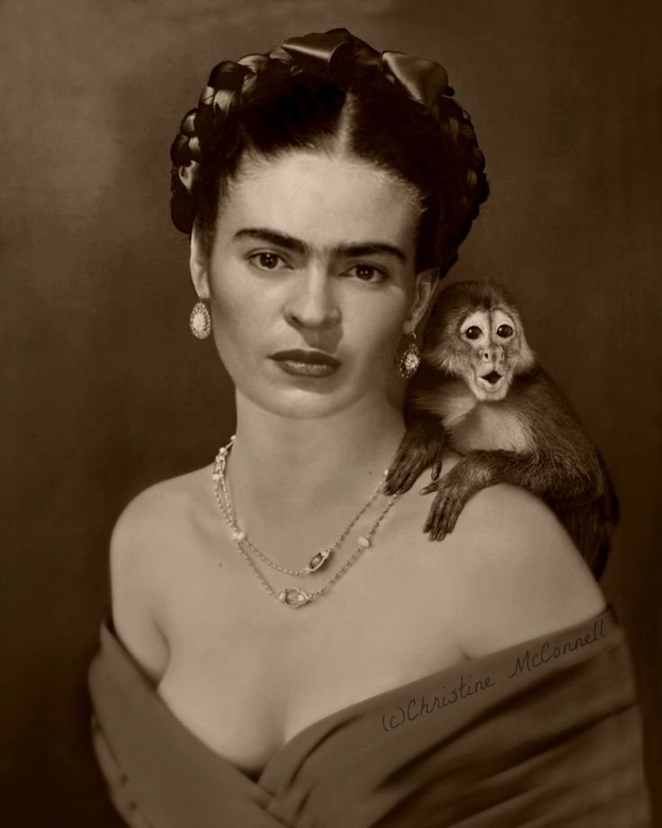 Frida Kahlo photo montage with monkey from www.artdecadence.etsy.com