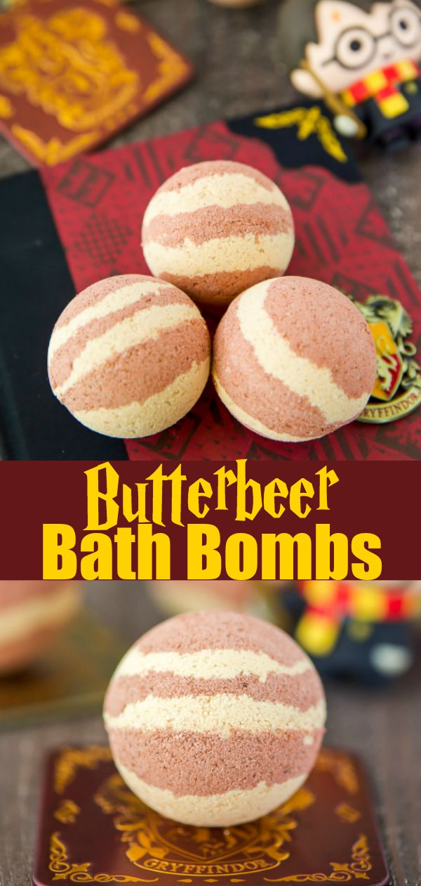 DIY Craft: Harry Potter fans will love this easy, DIY Butterbeer Bath Bomb! <a class=