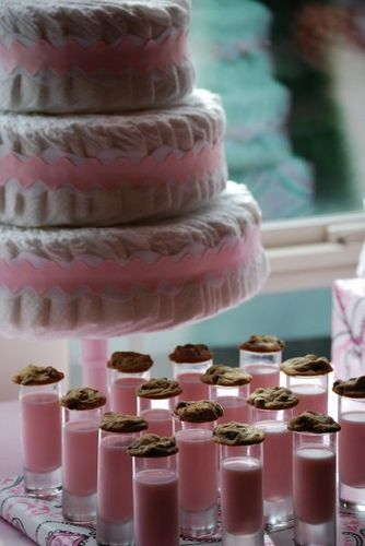 ENTRY SHOT!!! girl baby shower- pink milk and cookies shot... so cute!