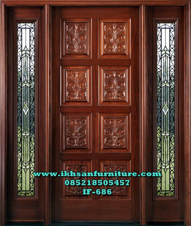 Pintu Rumah Single Ukir Jendela Kaca