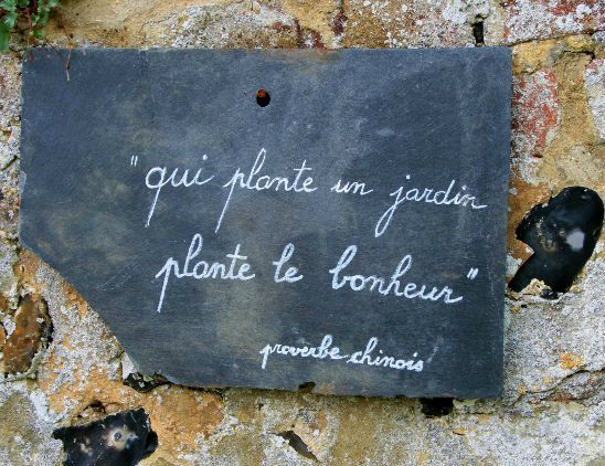 """Qui plante un jardin, plante le bonheur."" Proverbe chinois"
