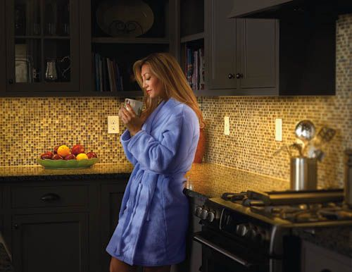 Using dimmers on task lighting allows you to set the light desired.