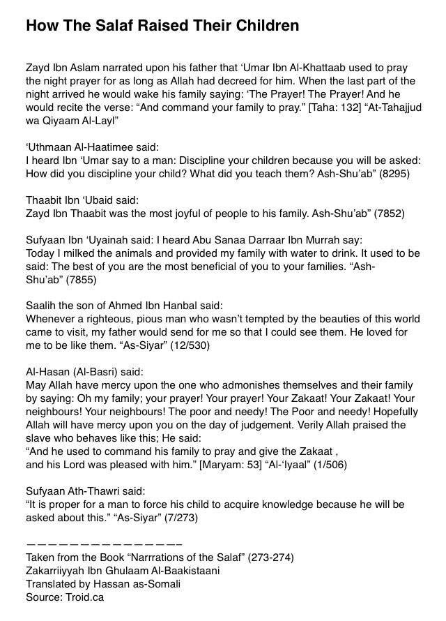 "best duaas to protect children images islamic  ""• how the salaf raised their children"""