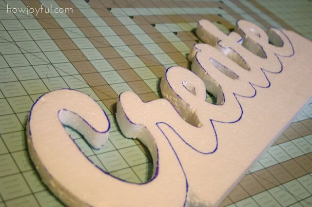 "STYROFOAM WORD WALL ART. Inexpensive with impressive results. Make template on computer using your chosen font enlarged to size you want. Trace on to 1"" styrofoam, cut out, & decoupage with tissue paper ... or whatever you want: fabric, craft paper, scrapbook paper, etc. Finish with protective spray and there you are!"