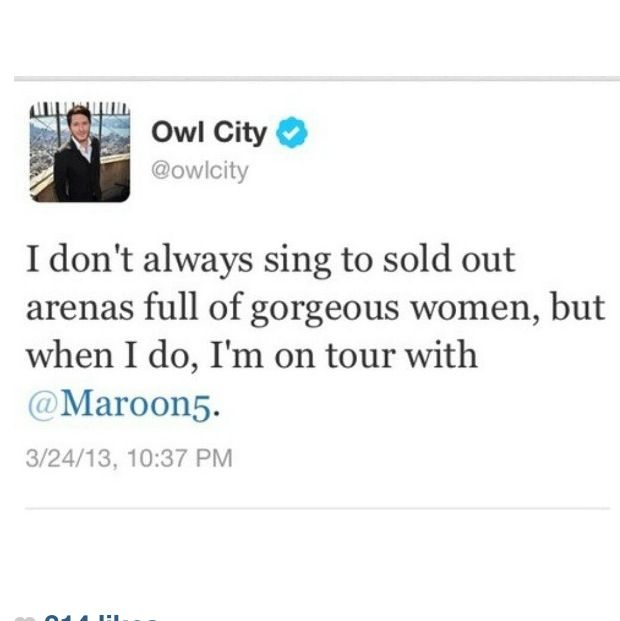 Owl City's tweet about the Overexposed tour.