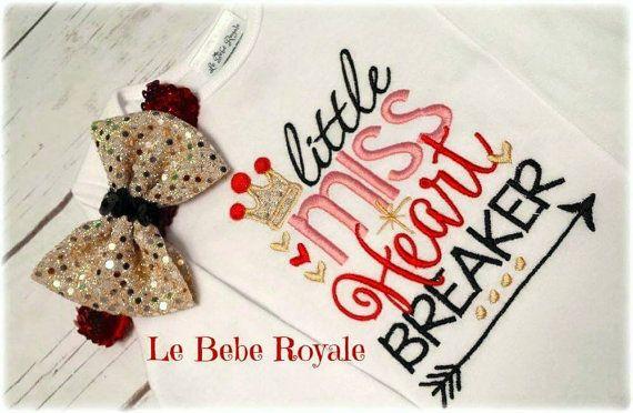 Valentines Shirt - First Valentines Shirt - Little Miss Heart Breaker- Arrow Shirt- Valentines Outfit - Valentines Headband- Gold Headband