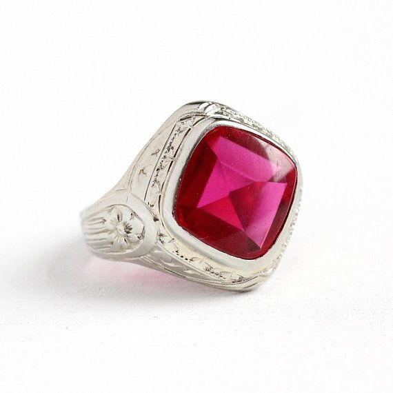 Phenomenal Vintage Art Deco Era 10k White Gold Created Ruby Ring This Substantial Piece Showcases A Deep Pi Ruby Ring Vintage Vintage Art Deco Engraved Flower