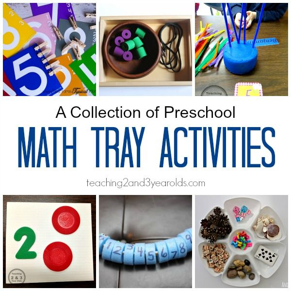 A collection of preschool math tray activities for home or school from Teaching 2 and 3 Year Olds.