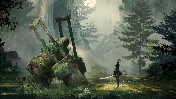 NieR Automata forest and forest king Concept Art