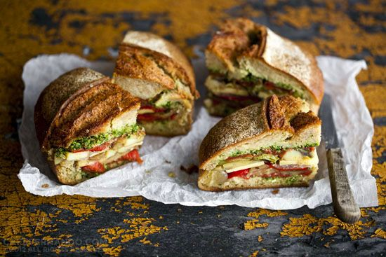 Tomato Confit, Pesto and Oven-roasted Vegetable Sandwich - Cafe ...