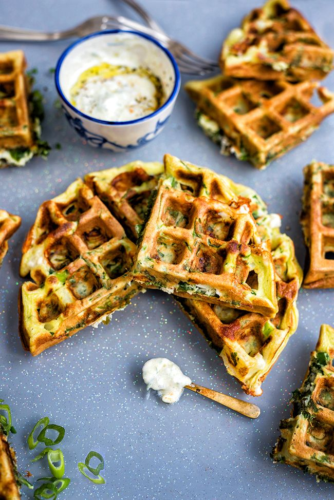 Greek Spinach, Feta and Potato Waffle Frittata with Tzatziki Sauce | Supergolden Bakes