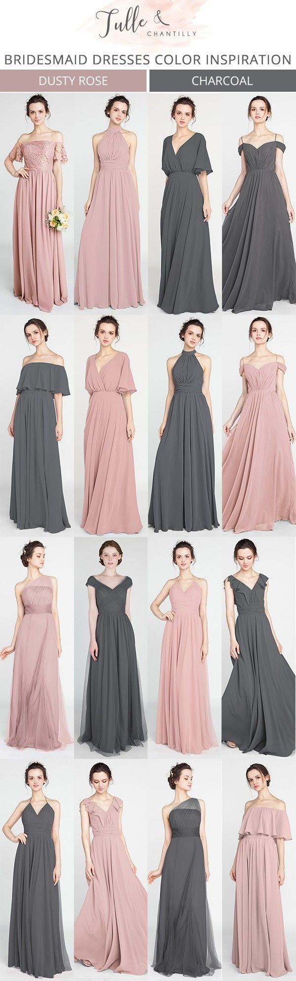 dusty rose and charcoal grey bridesmaid dresses #bridalparty #bridesmaiddresses #weddinginspiration #weddingcolors